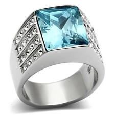 Stainless Steel Rectangle Radiant Aqua Blue Aquamarine Topaz cz Cocktail Ring