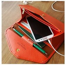 Women Leather Envelope Wallet Credit/ID Card Cell Phone Holder Case Clutch Purse