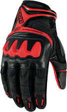Icon Overlord Resistance Short Summer Leather Motorcycle Gloves - Red