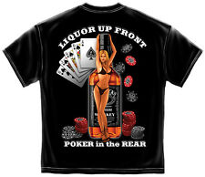 Gambling T Shirt Liquor Up Front Poker In The Rear Whiskey Vegas Cards Chips