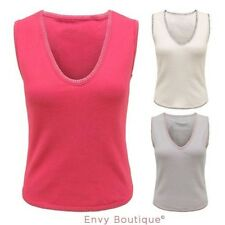 WOMENS LADIES PLAIN CASUAL V NECK SLEEVELESS STITCHED RIBBED VEST T-SHIRT TOP