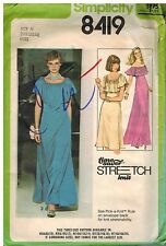 8419 Vintage Simplicity Sewing Pattern Misses Pullover Dress Stretch Knit OOP