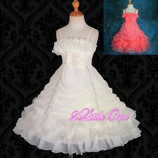 Chiffon Diamant Organza Tiered Formal Dress Wedding Flower Girl Pageant 2-8 #186