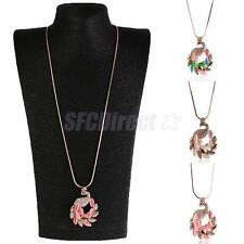 Charm Faux Opal Zircon Peacock Princess Long Pendant Necklace Sweater Chain Gift