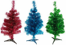 Pretty 50cm Mini Desk Top Office Bedroom Tinsel Christmas Tree - 4 Funky Colours