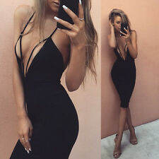 Women Sexy Deep V Neck Sleeveless Bandage Club Party Backless Cocktai Mini Dress