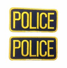 2 Small Police Patches 4 1/4 inches x 2 inches Gold on Navy
