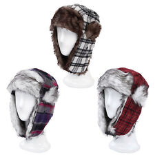 Warm Winter Plaid Faux Fur Trapper Ski Snowboard Hunter Bomber Hat - Diff Colors