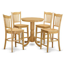 EDEN ROUND COUNTER HEIGHT TABLE DINING ROOM SET IN OAK