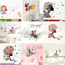 Girl Flower Fairy Removable Wall Art Sticker Vinyl Decal DIY Home Mural Decor