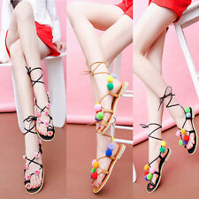 Popular Women Flat Gladiator Lace Up Flower Ankle Mid Calf Strappy Sandal Shoes