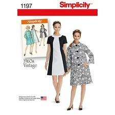 Simplicity Sewing pattern 1197 Vintage Style 1960's Dress and Lined Coat