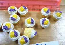5x DOLLS HOUSE MINIATURE CUTE PINK YELLOW FRUIT CUP CAKES FREE UK POST UK SELLER
