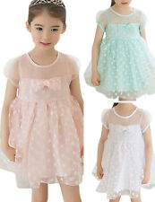 Kids Girls Bowknot Lace Floral Princess Pageant Dress Party Tutu Dress Size 1-6Y
