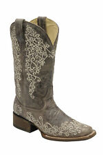 Corral Womens Brown Crater Bone Embroidery Square Toe Western Boot