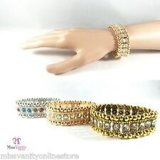 MULTI ROW CRYSTAL DIAMANTE RHINESTONE BANGLE CUFF STRETCH BRACELET