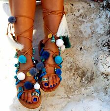 "POM POM Sandals, Leather Sandals, Gladiator sandals, ""Hippieland"" Greek 486"
