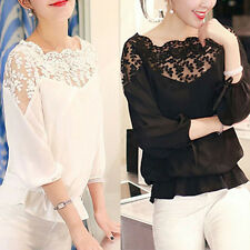 Newest Ladies Women Clothes Lace Hollow T-Shirt Casual Chiffon Blouse Crop Tops