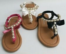 NEW Kids Girls LINK Favorite97 WEDDING PAGEANT Satin Pearl Thong Sandals Shoes