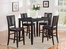 3 PC or 5 PC RECTANGULAR COUNTER HEIGHT DINING TABLE SET W/ LEATHER SEAT CHAIRS
