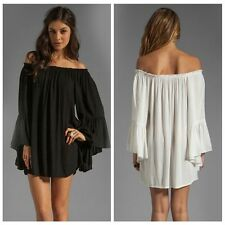 Boho Women Solid Ruffle Chiffon Shoulder Mini Dress Tunic New Summer Beach Dress