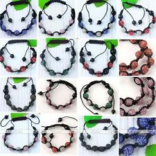 10mm Crystal Disco Hip Hop Ball Beads Hand Knitted Men's Bracelet Cuff Jewelry