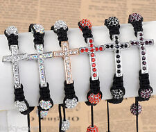 Fashion Women Crystal Cross Disco Hip Hop Pave Ball Macrame Bracelet Bangle Gift