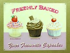 Freshly Baked Your Favourite Cupcakes - Tin Metal Wall Sign