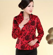 Charming Chinese Women's silk embroidery jacket /coat red Sz: 8 10 12 14 16
