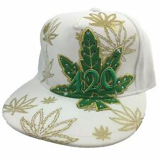 Marijuana 420 Blunt Weed Fitted Small Gold Printed Embroidery Flat Bill Hat Cap