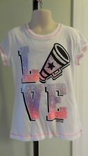NWOT Justice Purple/Pink Glittery SS Cheerleading Girl's Tee - Sizes 5-10