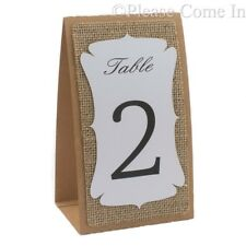Kraft-Burlap-White 3-layered Table Number (Double Sided Printing) Rustic Wedding
