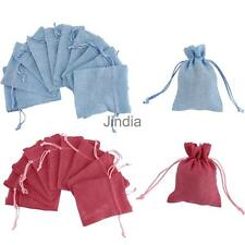 10pcs Linen Jute Sack Gifts Jewelry Pouch Drawstring Gift Bags Wedding Favor