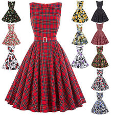 Sexy Women Vintage 50's Housewife Ladies Casual Swing Pinup Evening Party Dress