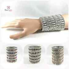SILVER 5 ROW CRYSTAL DIAMANTE RHINESTONE CUFF BRACELET STRETCH BRIDAL WEDDING