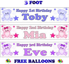 2 PERSONALISED BIRTHDAY PARTY BANNERS NAME PHOTO AGE Teddy Pink Purple Blue D1