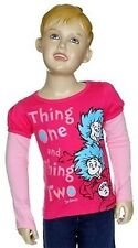 NWT Dr.Seuss Toddler Girls Thing 1 & Thing 2 Sparkly Long Sleeve Layered Tee