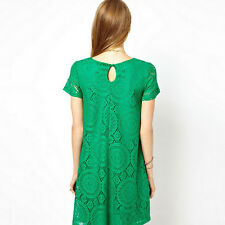 Women Short Sleeve Loose Lace Hollow Out Casual Tops Skirt Dress Bigsize Fad New