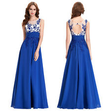 CHIFFON BACK HOLE EVENING PARTY BALL GOWN PROM FORMAL BRIDESMAID PAGEANT DRESS