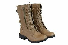 Women's Short Mid Calf Military Style PU-Leather Boots Beige Fashion Cute Sz 8.5