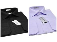 Slim fit Dress shirts, tone on tone Diagonal design French Convertible Berlioni