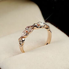 New Fashion Women 18K Rose Gold GP Band Wedding Swarovski Crystal Ring gift