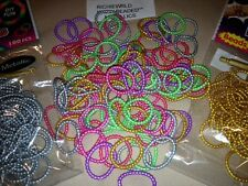 "*NEW* 100 CT Silicone "" BEADED"" METALLIC, GLITTER, GLOW, NEON,  DIY loom bands"