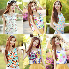 Colorful Women Chiffon Floral Vest Tops Tank Sleeveless Shirt Blouse Waistcoat