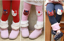 Girls Kids Warm Pants Cartoon Cat 2-7Year Winter Fleece Lining Leggings Trousers