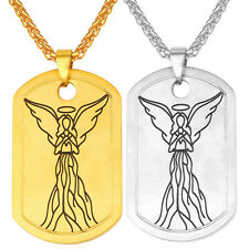 316L Stainless Steel Angel Dog Tag Pendant Necklaces 18K Gold Plated Jewelry