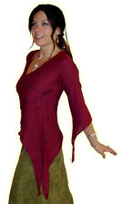 PIXIE MEDIEVAL LONG POINTY HOOD COTTON TOP S M L red brown purple green black