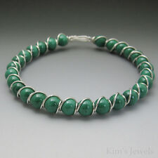 Malachite Sterling Silver Wire Wrapped Beaded Bracelet