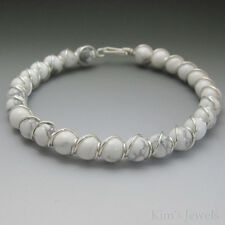 White Howlite Sterling Silver Wire Wrapped Beaded Bracelet