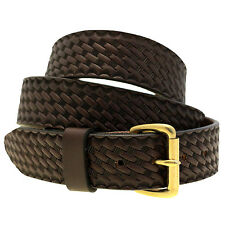 Mens 1 1/2 Dark Brown English Bridle Leather Belt Embossed Basket Weave